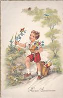 Fête : Anniversaire : Heureux Anniversaire : Enfant : Garçon Cueillant Des Fleurs : ( édit. Superluxe ) - Cumpleaños