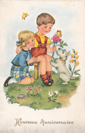 Fête : Anniversaire : Heureux Anniversaire : Couple D'Enfants Avec Chien : ( édit. ESP N° 658) - Cumpleaños