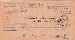 Slovenia SHS 1921 Postal Money Order With SHS Chainbreakers Postage Due Stamp, Postmark STRNIŠČE PRI PTUJU - Slovenia