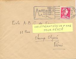 LE PUY-EN-VELAY HAUTE-LOIRE OMec SECAP Du 1er MAI 1956 * JOUR FÉRIÉ * PASSEZ / ../ VILLE D'ART / VILLE SAINTE - Sellados Mecánicos (Publicitario)