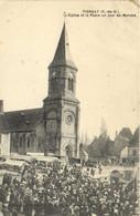 PIONSAT  (P De D) L'Eglise Et La Place Un Jour De Marché  Recto Verso - Otros Municipios