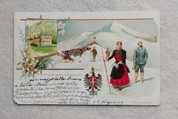 Cartolina Illustrata Italiana (le L.L.M.M. I Reali D'Italia) - S.M. La Regina A Gressoney, Viaggiata Per Mombello 1899 - Familias Reales