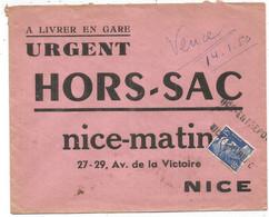 GANDON 15FR BLEU GRIFFE NICE ENTREPOT SEUL HORS SAC ENVELOPPE + MENTION VENCE 14.1.1953 POUR NICE MATIN - 1945-54 Maríanne De Gandon