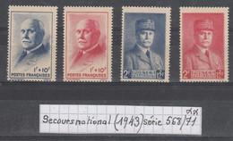 France (1943) Secours National: Petain (1943) Série 568/571 Neufs ** à 10% De La Cote - Unused Stamps