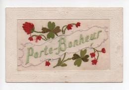 "Carte  Brodée  -  ""  Porte  Bonheur    ""    Fleurs  Rouges - Sonstige"