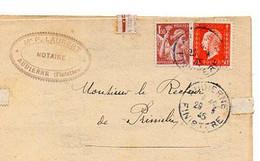 E 15   1945 Lettre En Tete Notaire à Audierne (29) - 1921-1960: Période Moderne