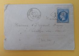 EMPIRE DENTELE 22 SUR LETTRE DE FRANGY A CHATILLON SUR SEINE DU 15 AOUT 1865 (GROS CHIFFRE 1580) - 1849-1876: Periodo Clásico
