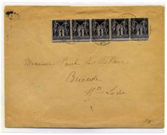 Sage YT N°83 Bande De 5 Sur Lettre De Brives Charensac / Dept Haute Loire / 1896 - 1877-1920: Periodo Semi Moderno
