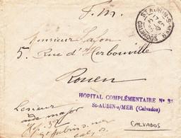France Lettre Franchise Militaire Calvados Hopital Complémentaire 32 Saint Aubin Sur Mer 1915 - WW I
