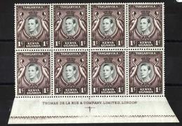 Kenya Uganda Tanganyika: 1938 1c Perf 13¼x13¾ Um Imprint Blk Of 8 With R9/6 Retouched Tablet Variety Sg131ad C£45++ - Kenya, Oeganda & Tanganyika