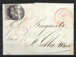 OBP6 Op Brief Van 23 Oktober 1851, Vanuit Anvers Naar St. Gilles-Waes - 1851-1857 Medallions (6/8)