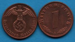 DEUTSCHES REICH 1 Reichspfennig 1939 A  KM# 89 (svastika) - 1 Reichspfennig
