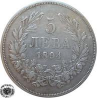 LaZooRo: Bulgaria 5 Leva 1894 XF - Silver - Bulgaria