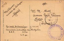 Militaire, Commision Interralliée De Navigation, Par Poste Britannique, 1919   (bon Etat) - Militärstempel Ab 1900 (ausser Kriegszeiten)