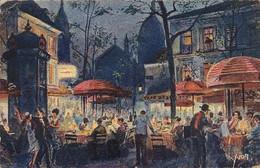 JMD7534Montmartre - Place Du Tertre La NuitCirculée 1930 - Parijs Bij Nacht