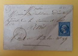 EMPIRE DENTELE 22 SUR LETTRE DE CLAIRAC A PARIS DU 9 FEVRIER 1865 (GROS CHIFFRE 1036) - 1849-1876: Klassieke Periode