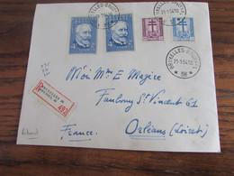 Lettre Recommandée Oblitérée Par L'AGENCE De BRUXELLES 38 (bilingue) En 1954 Pour La France. Belles Frappes Et Rares - Brieven En Documenten