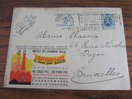 PUBLIBEL (charbonnage De La Louvière) Oblitéré BXL (Midi) En 1934. GRIFFE D'ORIGINE De RONQUIERES - Publibels