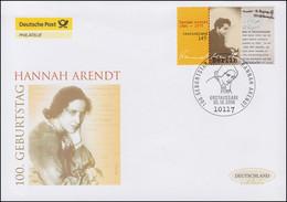 2566 Philosophin Hannah Arendt, Schmuck-FDC Deutschland Exklusiv - Sin Clasificación