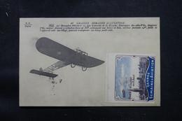 """FRANCE - Oblitération """" Caen Aviation """" Sur Carte Postale ( Avion ) Avec Vignette De Caen Aviation En 1910 - L 75007 - Luftpost"""