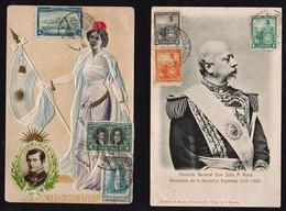 ARGENTINE: Lot De 2 Magnifiques Cartes Obl En 1904 Et 1910. Plan TOP Sur Don Julio A. Roca Pt. De La République.... - Lettres & Documents