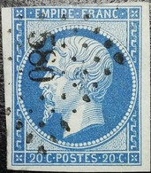 N°14B Napoléon 20c Bleu. Oblitéré Losange PC. N°580 Cahors - 1853-1860 Napoleon III