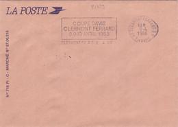 21439# LETTRE LA POSTE Obl 63 CLERMONT FERRAND PUY DE DE DOME 1988 COUPE DAVIS TENNIS - 1961-....
