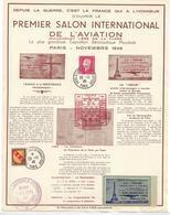 """France Un Document Salon Inter. De L'aviation.1946 Vignette 1°vol Le """"NENE"""" - Luftfahrt"""