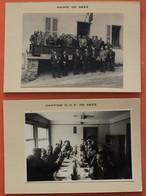 2 Photos De Seez, La Mairie Et La Cantine EDF, Dans Les Années 50, Très Animées - Altri Comuni