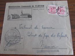 RELAIS De FLAVION Sur Lettre De L'administration Communale De Idem En 1956 (type 42) - Sterstempels