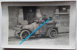 1915 état Majors SS4 Automobile BB Peugeot Immatriculé 52625 Voiture Poilus Tranchée 1914-1918 WW1 Carte Ph - Guerra, Militari