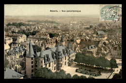 58 - NEVERS - VUE PANORAMIQUE- CARTE TOILEE ET COLORISEE - Nevers