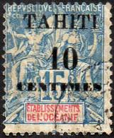 Tahiti Obl. N° 33 Type Groupe Surcharge De 10c Sur 15 Bleu-gris Sur Timbre De L'Océanie - Usados