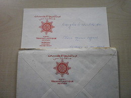 Ancien Papier à Lettre Et Enveloppe HOTEL TRANSATLANTIQUE  MEKNES - Other