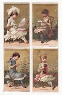 Chromo   GUERIN BOUTRON    Lot De 4    Femmes, Lecture, Crochet, Poupée Etc     10.6 X 6.5 Cm - Guerin Boutron