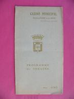 Programme Du Théâtre Du CASINO Municipal BOULOGNE SUR MER 1920 Nombreuses Publicités Locales Trogneux +++ Années Folles - Programas