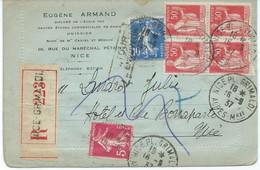 PLI RECOMMANDE 1937 AVEC 6 TIMBRES PAIX / SEMEUSE ET CACHET DE RETOUR A L'ENVOYEUR - 1921-1960: Modern Tijdperk