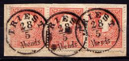 AUSTRIA / ÖSTERREICH - 1858 : 3 X 5 KREUZER - Mi. 13 II/I Sur / On FRAGMENT - STEMPELUNG / CANCELLATION : TRIEST (af850) - Lettres & Documents