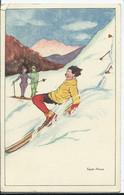 CARTE FANTAISIE - Illustration Edith Jonas- Chute De Ski - Otros Ilustradores