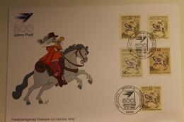 BRD; Sonderblatt,Erinnerungsblatt,Gedenkblatt: 500 Jahre Post; Fünfländer Frankatur, Stempel Berlin 1990 - Zonder Classificatie