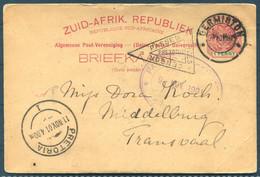 1901 Germiston Stationery Postcard - Middelburg Transvaal Via Pretoria. Boer War Censor - Transvaal (1870-1909)