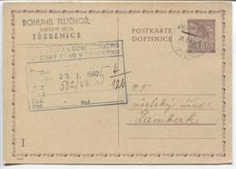 Böhmen Und Mähren Ganzsache P11 Frageteil I Gestempelt Trebnitz 21.1.42 >Zamberk - Storia Postale