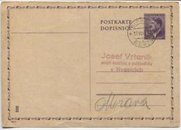 Böhmen Und Mähren Ganzsache P17/01 Antwortteil II Gestempelt Rippein 17.6.43 - Storia Postale