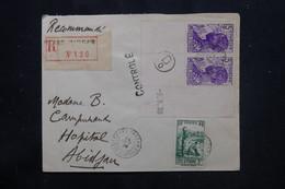 CÔTE D'IVOIRE - Enveloppe En Recommandé De Grand Bassam Pour Abidjan En 1939 Avec Cachet De Contrôle Postal - L 75061 - Briefe U. Dokumente