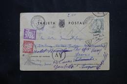 ESPAGNE /  FRANCE- Taxes De Montpellier Sur Carte De Correspondance De Barbastro En 1943 Avec Contrôle Postal  - L 75062 - Marques De Censures Nationalistes