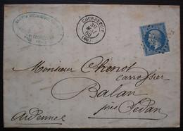 Courbevoie 1860 Léon De Stoppani, Société De La Carrosserie Française Pc 988 Sur N°14 Pour Balan Près Sedan Ardennes - 1849-1876: Periodo Classico