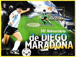 Bloc Feuillet Neuf** - Cinquantième Anniversaire De Diego Maradona - Sao Tome Et Principe 2010 - Sao Tomé Y Príncipe