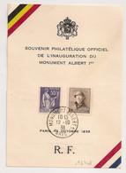MONUMENT ALBERT 1° PARIS. Bureau Temporaire Société Belge D'Aérophilatélie. 1938 - Cachets Commémoratifs