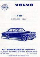 Volvo  Tarif Octobre 1962 - Reclame