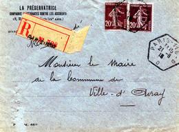 """Perforé:Lettre Recommandée De Paris 11B-D  (bureau R.A.U) Pour Ville D'Avray, Perforé """"P"""" La Préservatrice. 1918 - Perfin"""